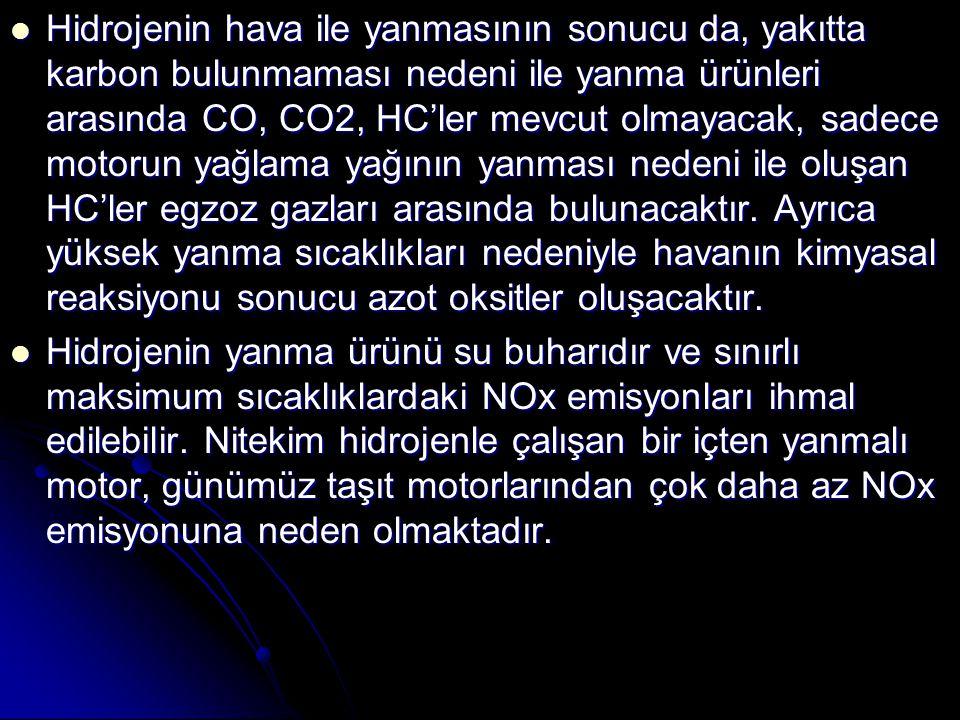 Hidrojenin hava ile yanmasının sonucu da, yakıtta karbon bulunmaması nedeni ile yanma ürünleri arasında CO, CO2, HC'ler mevcut olmayacak, sadece motorun yağlama yağının yanması nedeni ile oluşan HC'ler egzoz gazları arasında bulunacaktır. Ayrıca yüksek yanma sıcaklıkları nedeniyle havanın kimyasal reaksiyonu sonucu azot oksitler oluşacaktır.