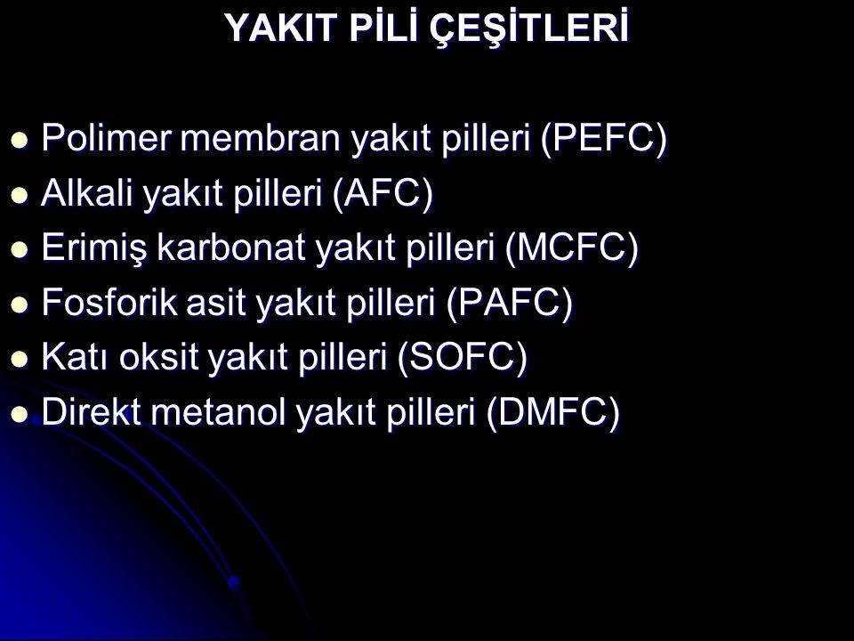 YAKIT PİLİ ÇEŞİTLERİ Polimer membran yakıt pilleri (PEFC) Alkali yakıt pilleri (AFC) Erimiş karbonat yakıt pilleri (MCFC)
