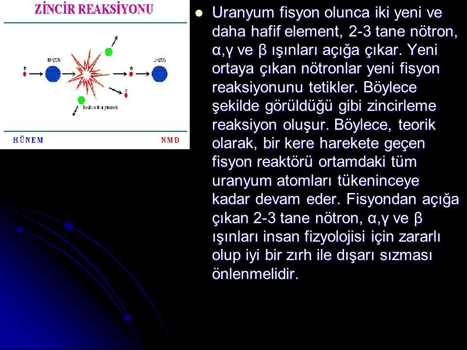 Uranyum fisyon olunca iki yeni ve daha hafif element, 2-3 tane nötron, α,γ ve β ışınları açığa çıkar.