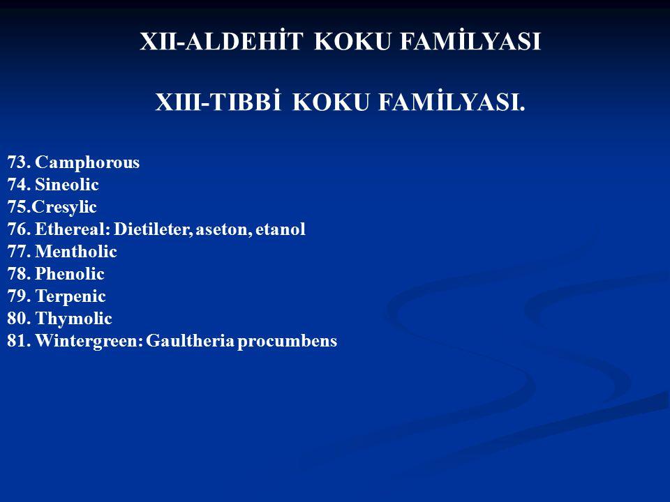 XII-ALDEHİT KOKU FAMİLYASI XIII-TIBBİ KOKU FAMİLYASI.