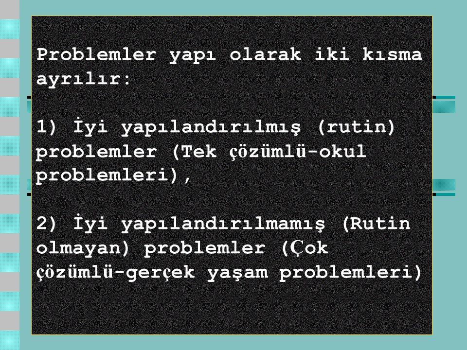 Problemler yapı olarak iki kısma ayrılır: 1) İyi yapılandırılmış (rutin) problemler (Tek çözümlü-okul problemleri), 2) İyi yapılandırılmamış (Rutin olmayan) problemler (Çok çözümlü-gerçek yaşam problemleri)