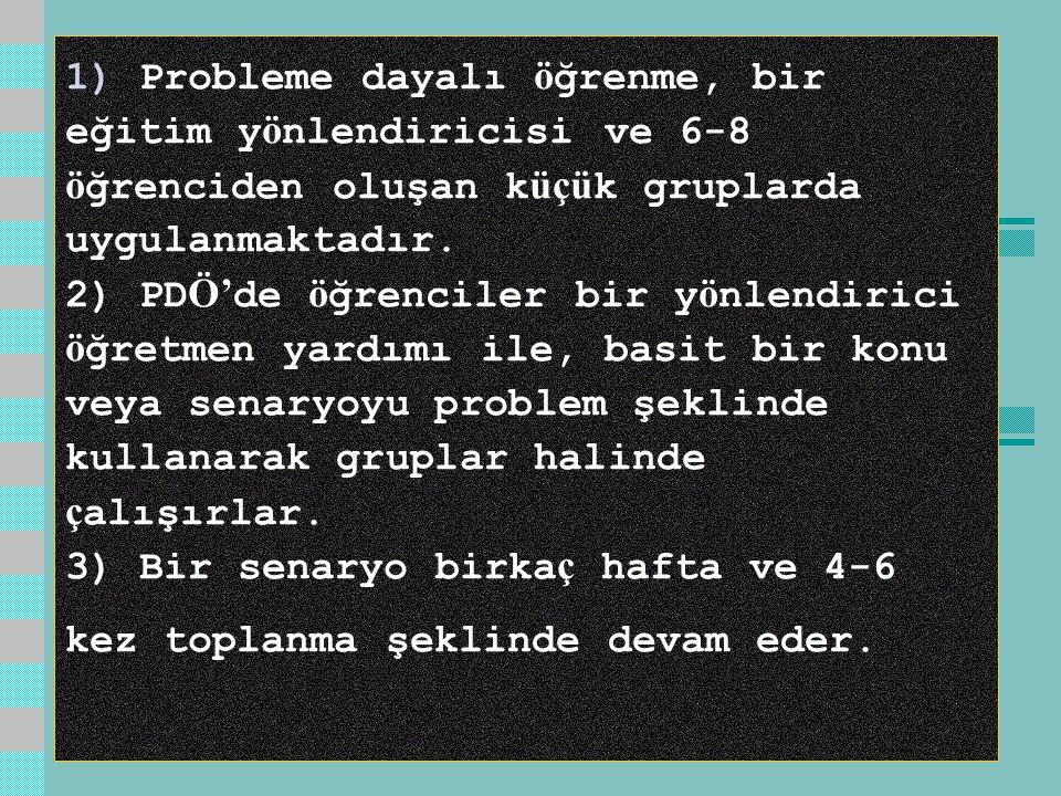 1) Probleme dayalı öğrenme, bir eğitim yönlendiricisi ve 6-8 öğrenciden oluşan küçük gruplarda uygulanmaktadır.