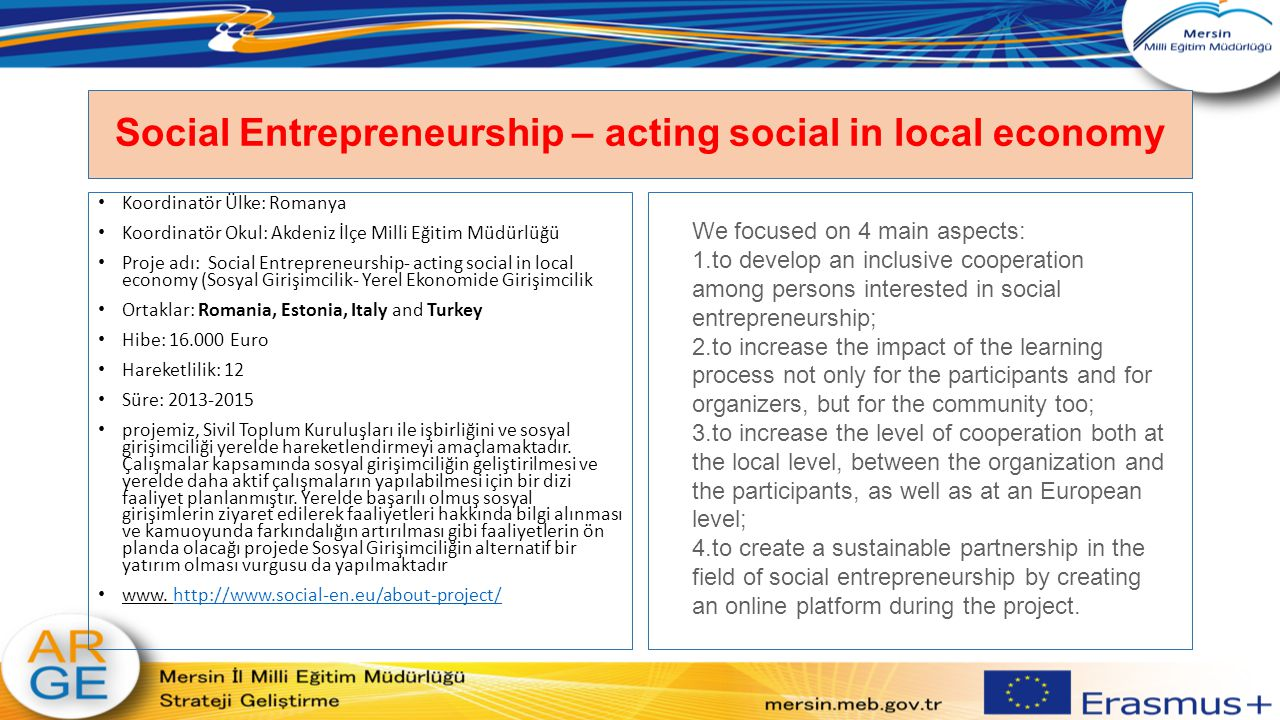 Social Entrepreneurship – acting social in local economy