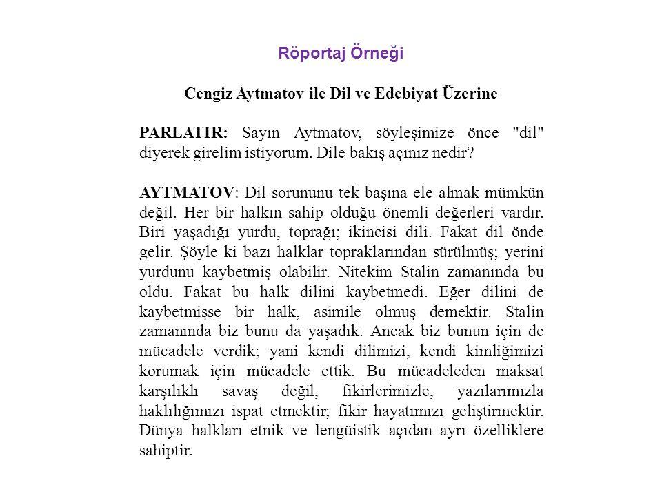 Cengiz Aytmatov ile Dil ve Edebiyat Üzerine