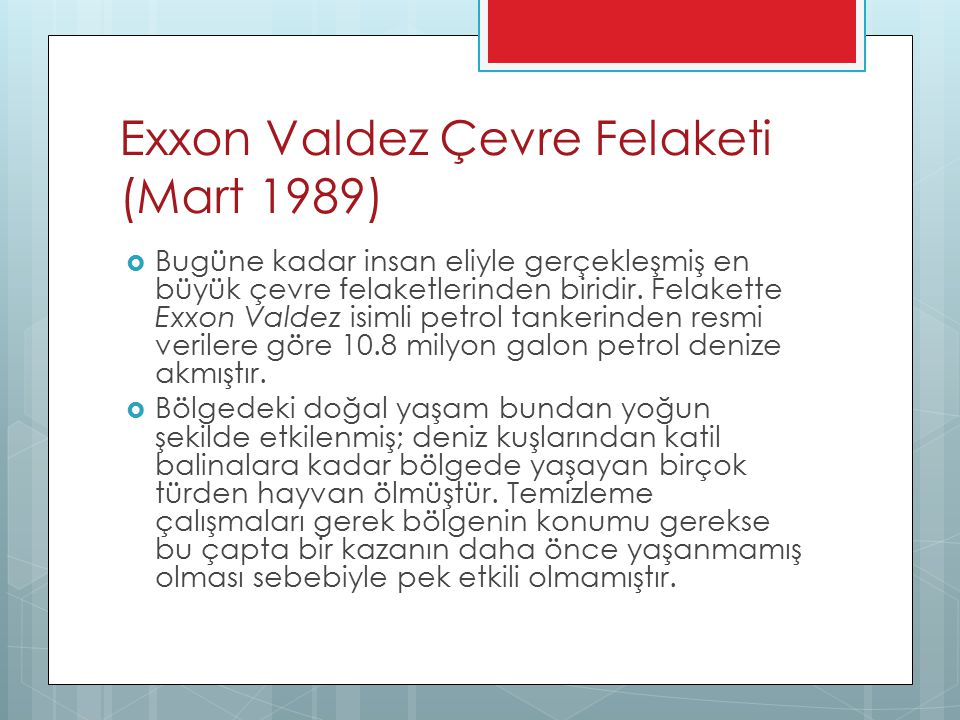 Exxon Valdez Çevre Felaketi (Mart 1989)