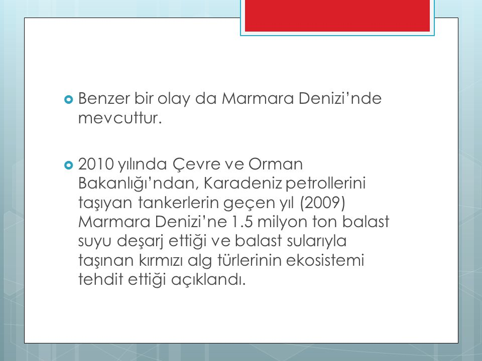 Benzer bir olay da Marmara Denizi'nde mevcuttur.