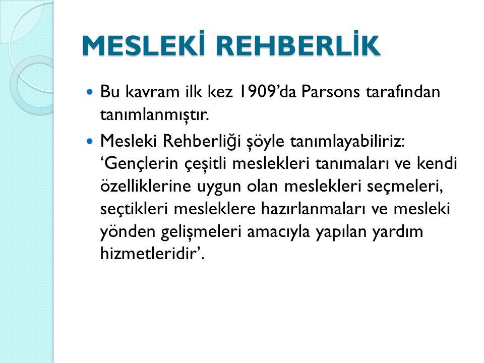 MESLEKİ REHBERLİK Bu kavram ilk kez 1909'da Parsons tarafından tanımlanmıştır.