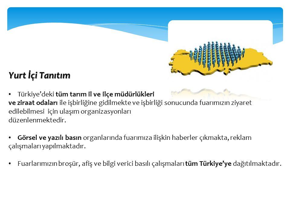 Yurt İçi Tanıtım Türkiye'deki tüm tarım il ve ilçe müdürlükleri