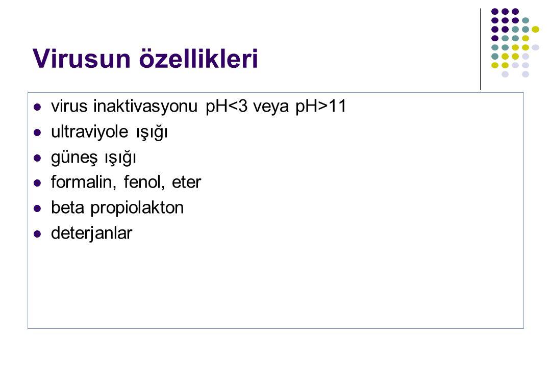 Virusun özellikleri virus inaktivasyonu pH<3 veya pH>11