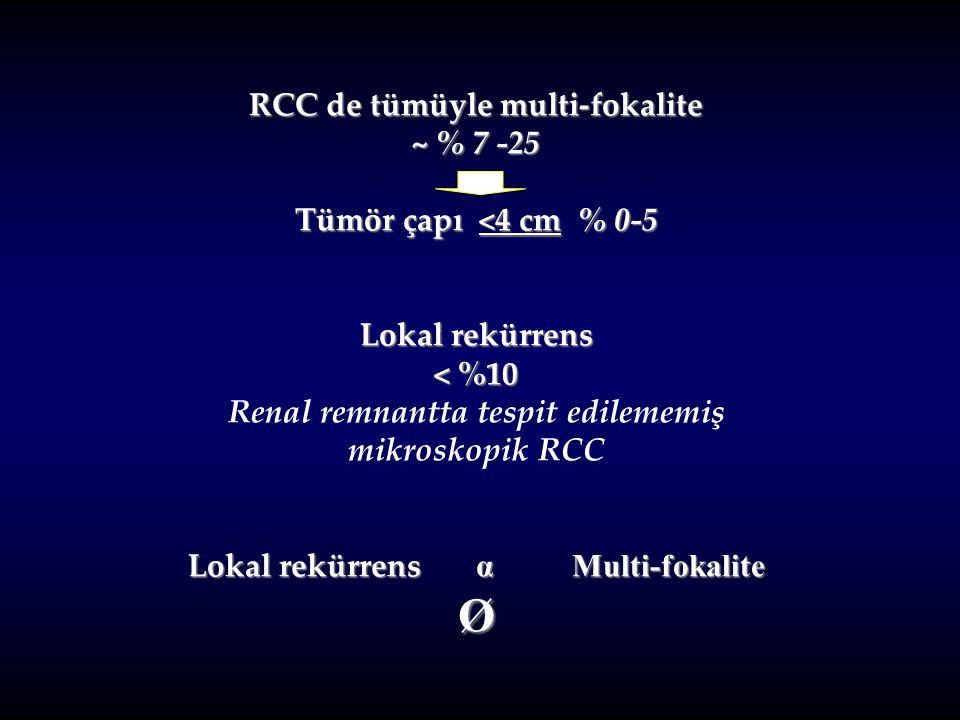 Ø RCC de tümüyle multi-fokalite ~ % 7 -25 Tümör çapı <4 cm % 0-5