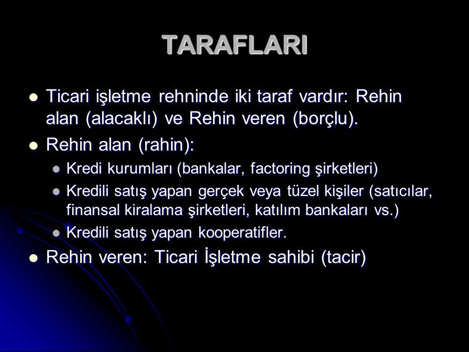 TARAFLARI Ticari işletme rehninde iki taraf vardır: Rehin alan (alacaklı) ve Rehin veren (borçlu). Rehin alan (rahin):