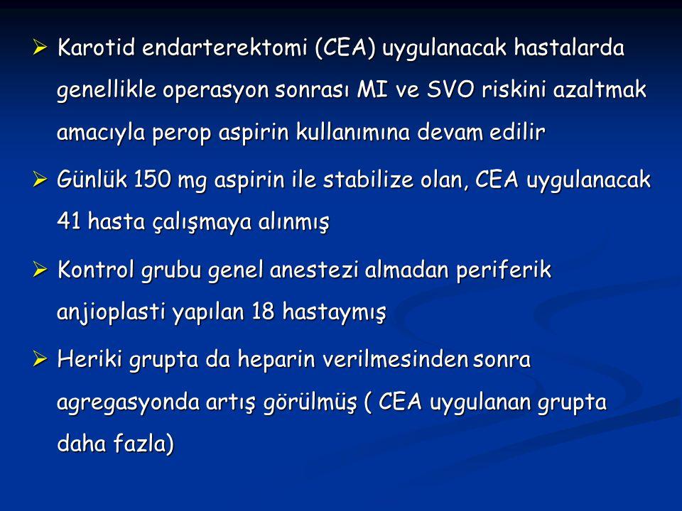 Karotid endarterektomi (CEA) uygulanacak hastalarda genellikle operasyon sonrası MI ve SVO riskini azaltmak amacıyla perop aspirin kullanımına devam edilir