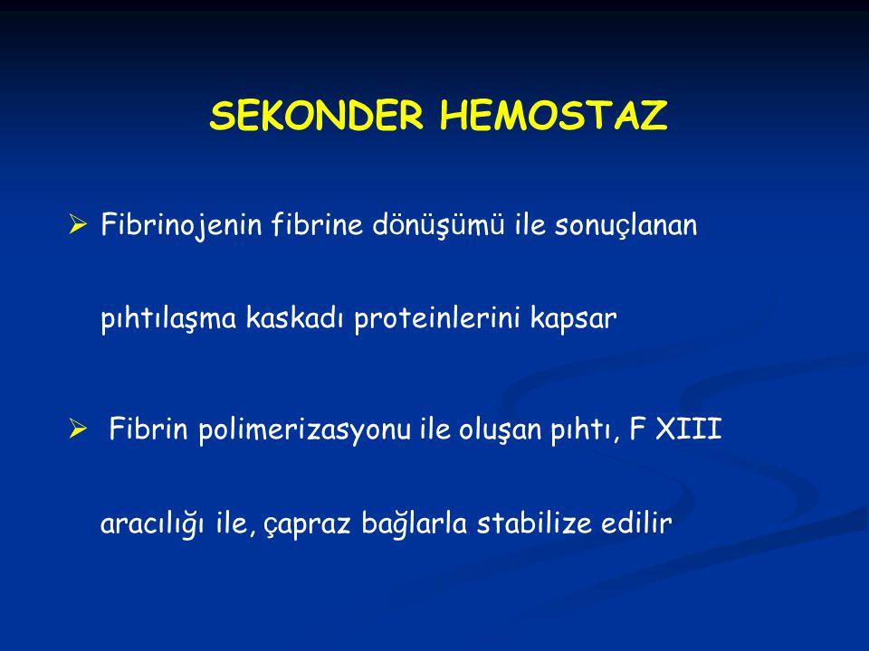 SEKONDER HEMOSTAZ Fibrinojenin fibrine dönüşümü ile sonuçlanan pıhtılaşma kaskadı proteinlerini kapsar.