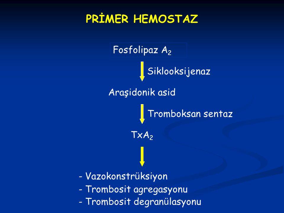 PRİMER HEMOSTAZ Fosfolipaz A2 Siklooksijenaz Araşidonik asid