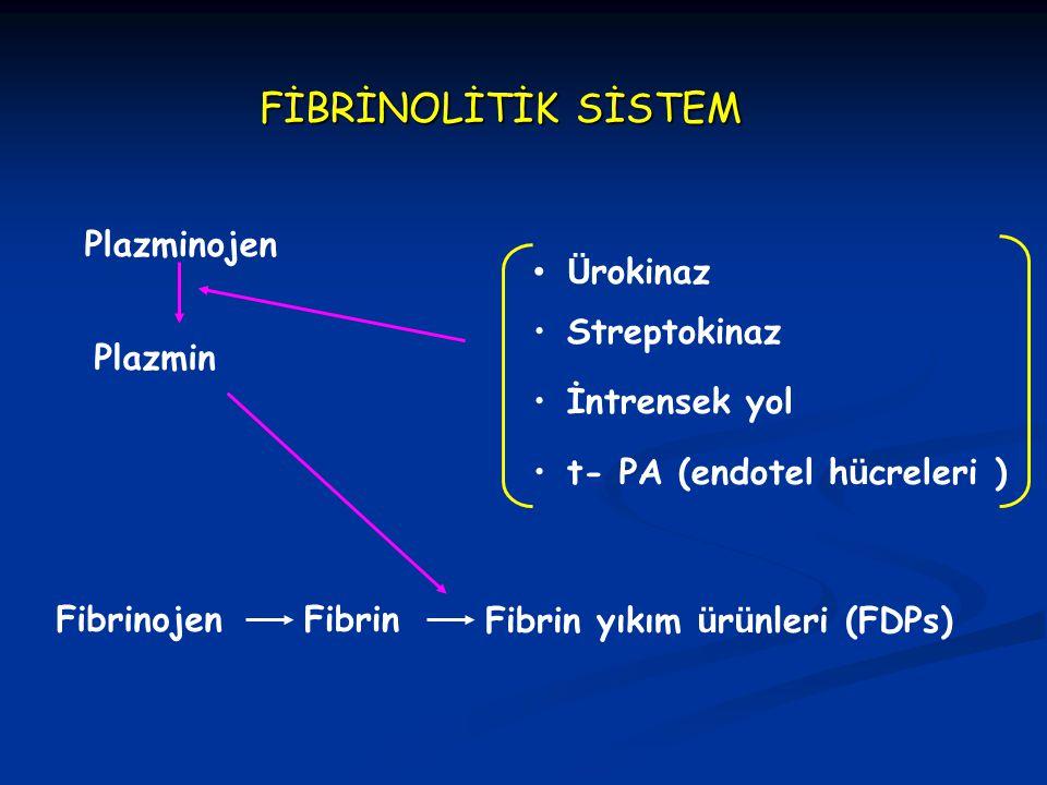 FİBRİNOLİTİK SİSTEM Plazminojen Plazmin Fibrinojen Fibrin