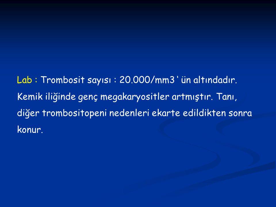 Lab : Trombosit sayısı : 20. 000/mm3 ' ün altındadır