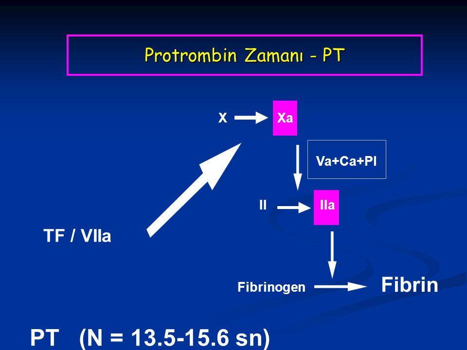 PT (N = 13.5-15.6 sn) Protrombin Zamanı - PT TF / VIIa X Xa Va+Ca+Pl