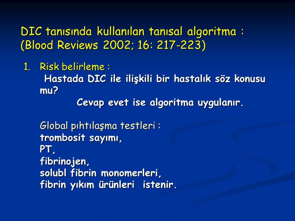DIC tanısında kullanılan tanısal algoritma : (Blood Reviews 2002; 16: 217-223)