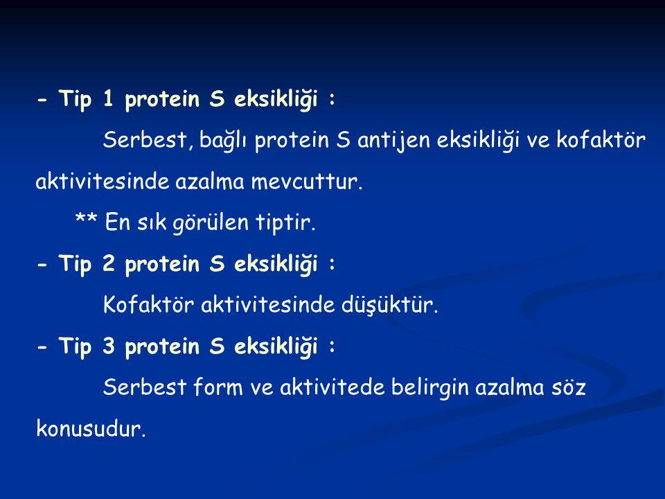 - Tip 1 protein S eksikliği :