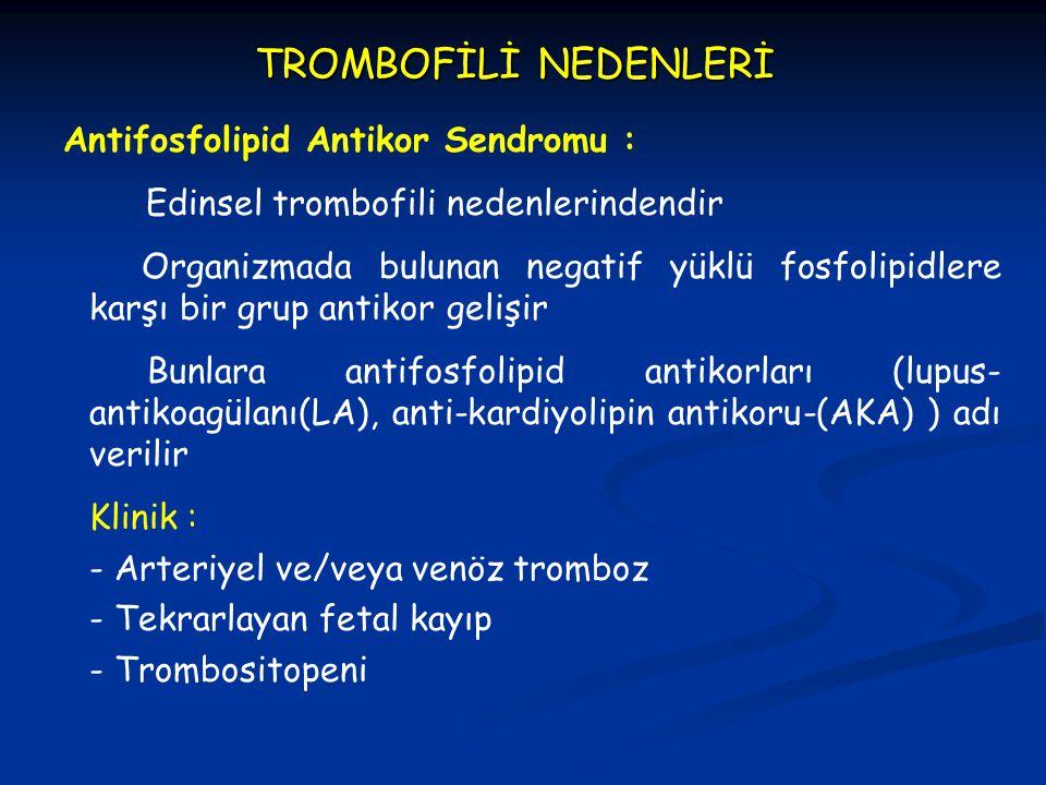 TROMBOFİLİ NEDENLERİ Antifosfolipid Antikor Sendromu :