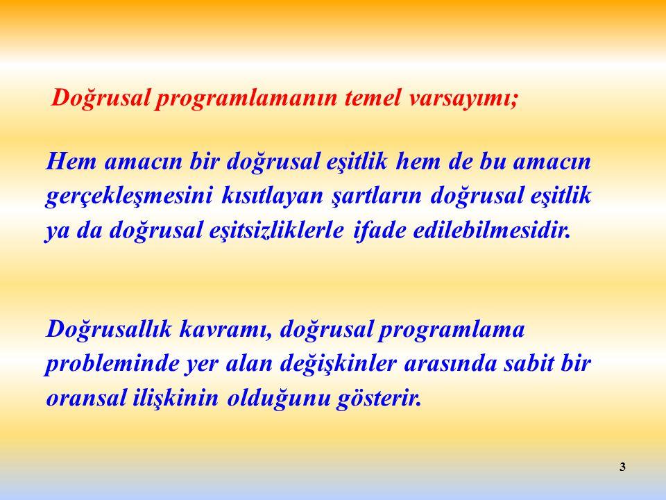 Doğrusal programlamanın temel varsayımı;