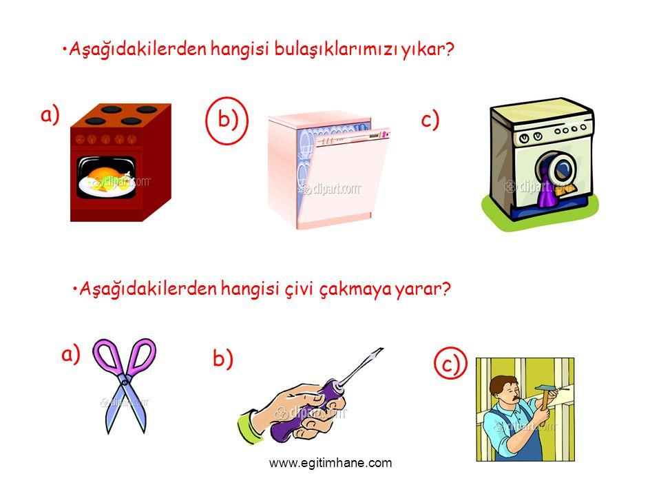a) b) c) a) b) c) Aşağıdakilerden hangisi bulaşıklarımızı yıkar