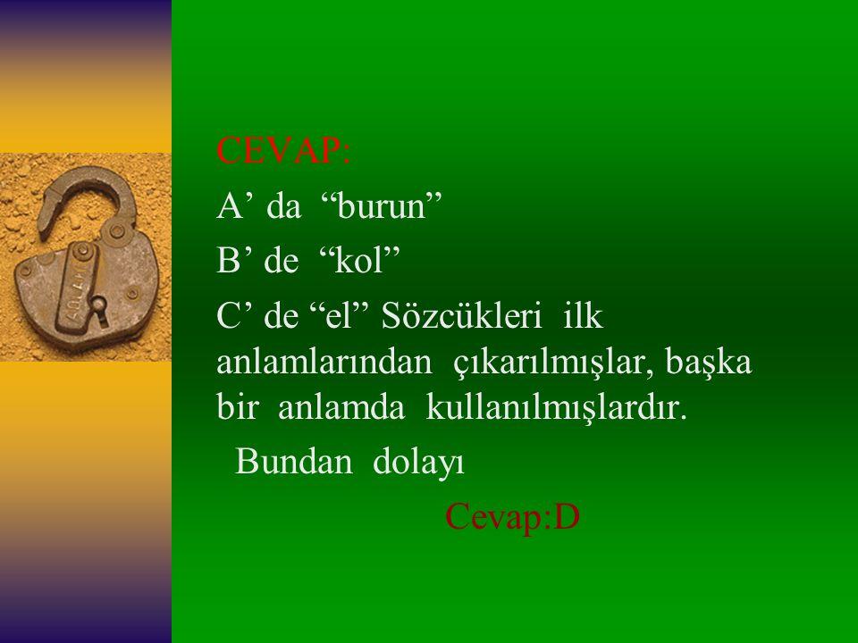CEVAP: A' da burun B' de kol C' de el Sözcükleri ilk anlamlarından çıkarılmışlar, başka bir anlamda kullanılmışlardır.