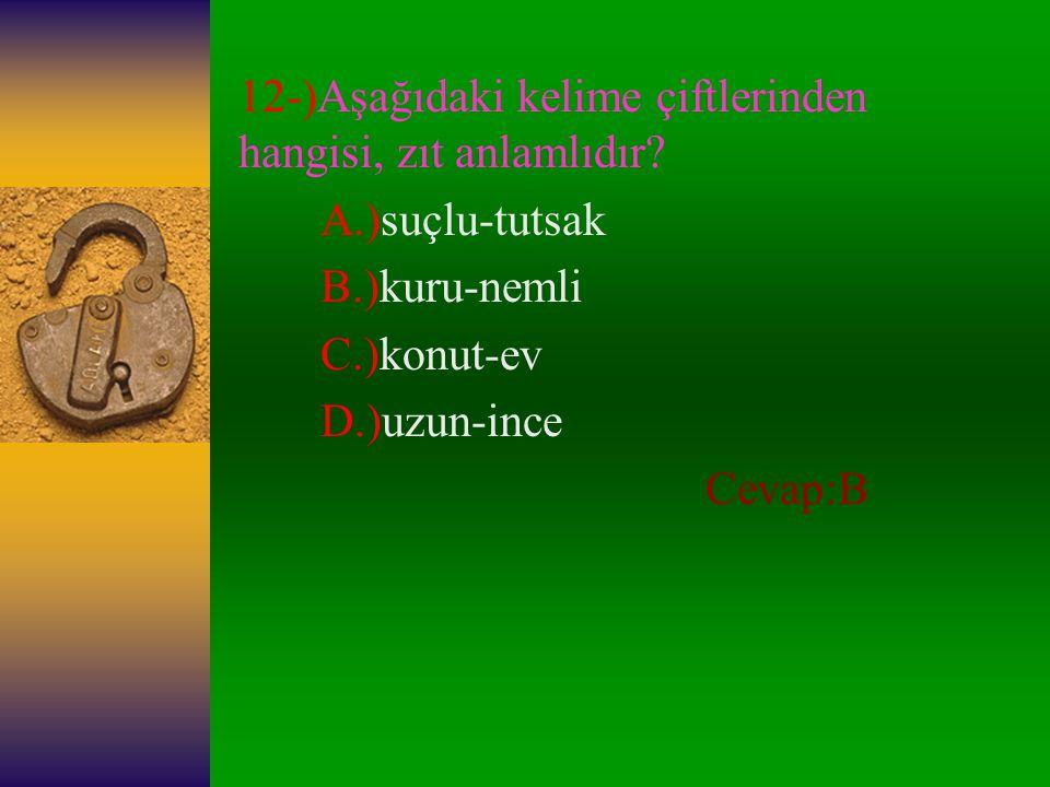 12-)Aşağıdaki kelime çiftlerinden hangisi, zıt anlamlıdır