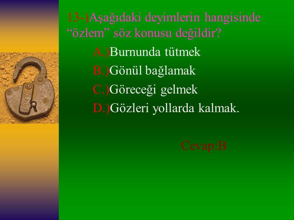 13-)Aşağıdaki deyimlerin hangisinde özlem söz konusu değildir