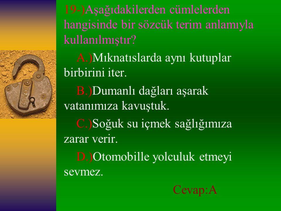 19-)Aşağıdakilerden cümlelerden hangisinde bir sözcük terim anlamıyla kullanılmıştır