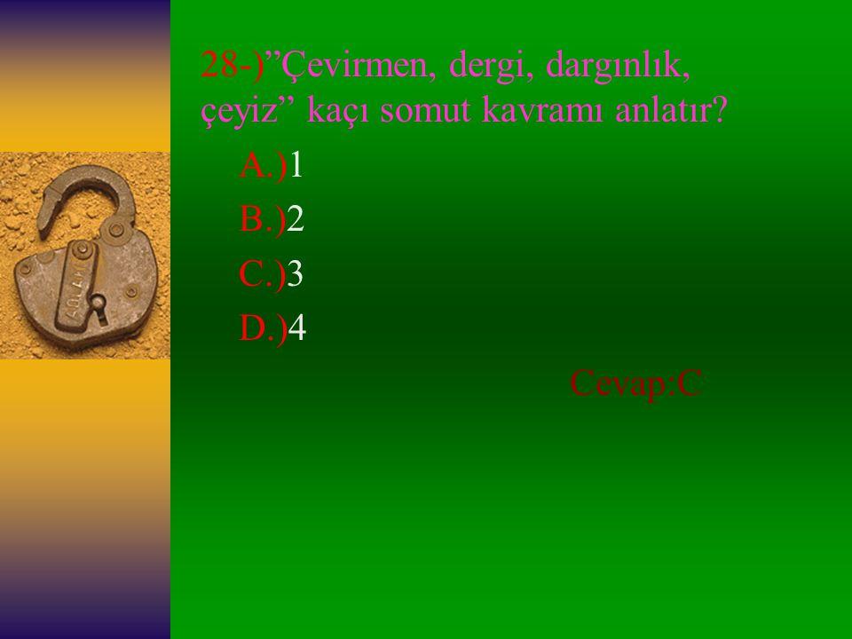 28-) Çevirmen, dergi, dargınlık, çeyiz kaçı somut kavramı anlatır