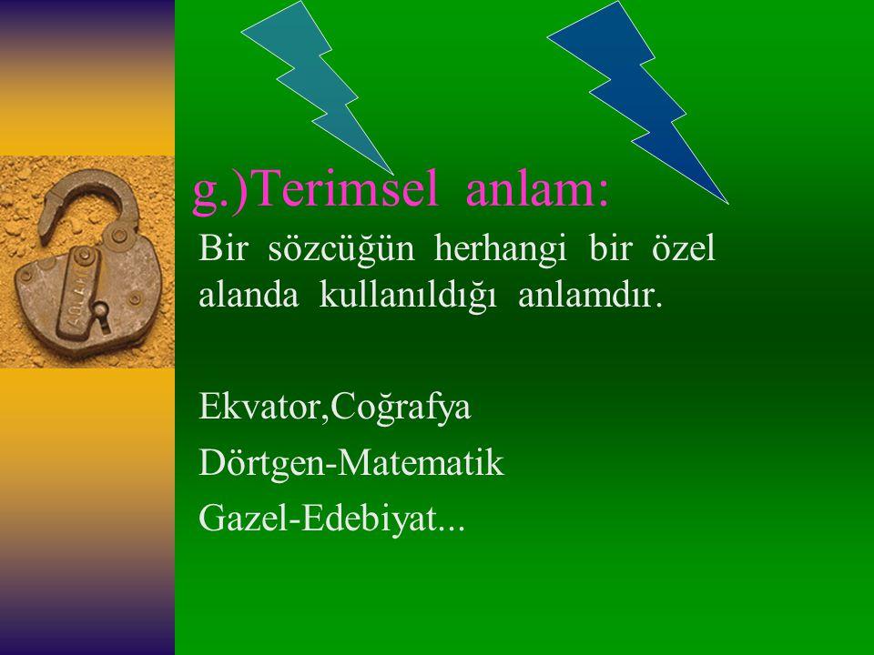 g.)Terimsel anlam: Bir sözcüğün herhangi bir özel alanda kullanıldığı anlamdır. Ekvator,Coğrafya.