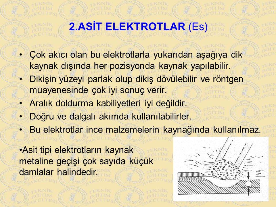 2.ASİT ELEKTROTLAR (Es) Çok akıcı olan bu elektrotlarla yukarıdan aşağıya dik kaynak dışında her pozisyonda kaynak yapılabilir.