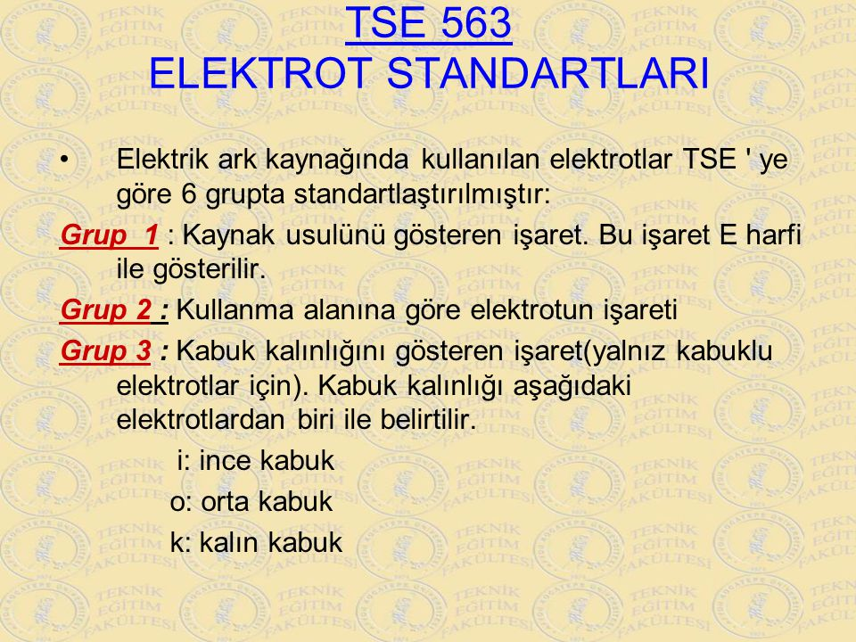 TSE 563 ELEKTROT STANDARTLARI