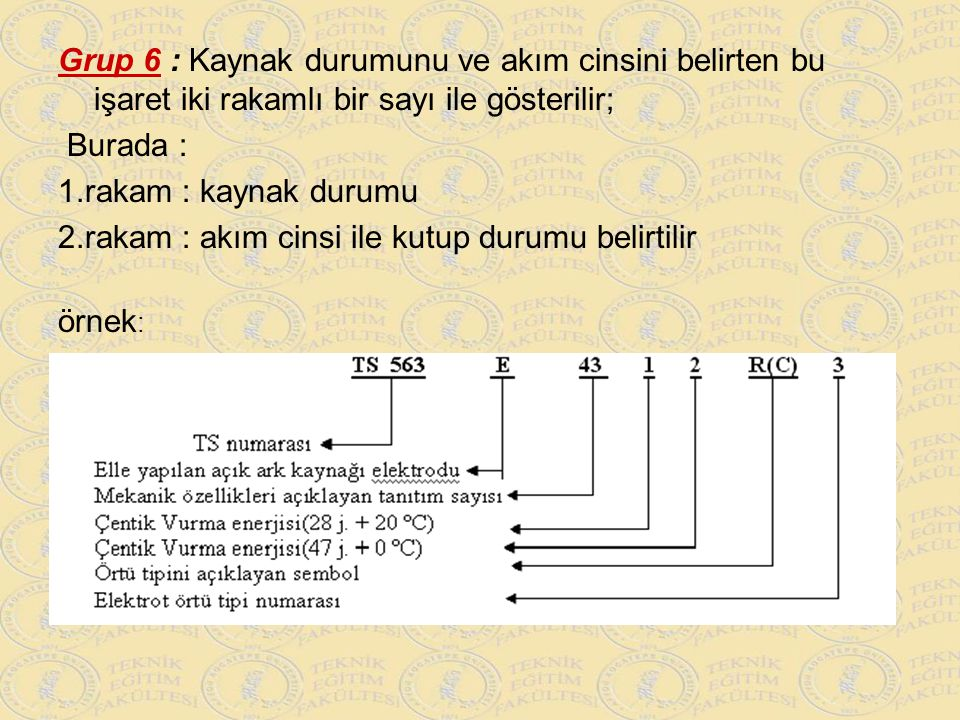 Grup 6 : Kaynak durumunu ve akım cinsini belirten bu işaret iki rakamlı bir sayı ile gösterilir;