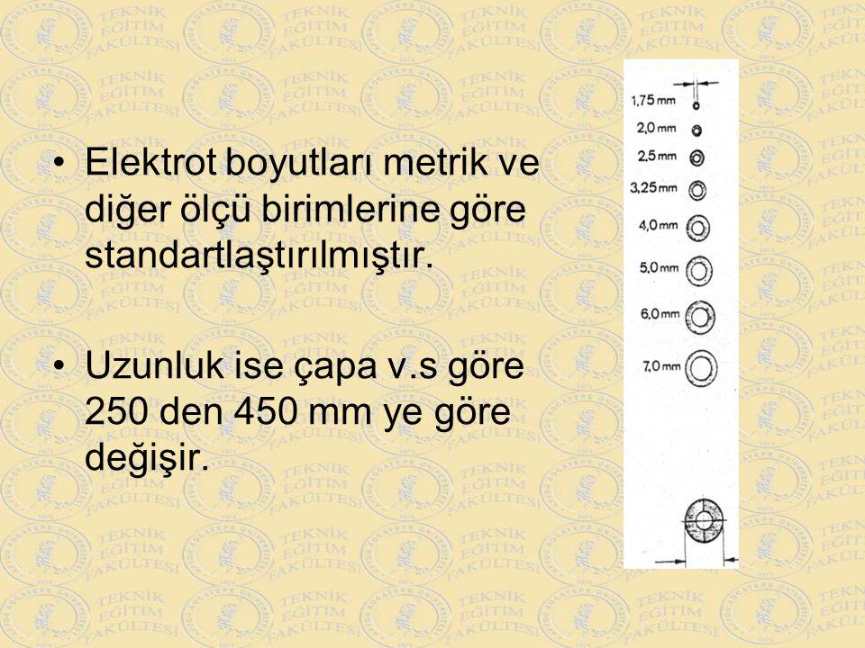 Elektrot boyutları metrik ve diğer ölçü birimlerine göre standartlaştırılmıştır.