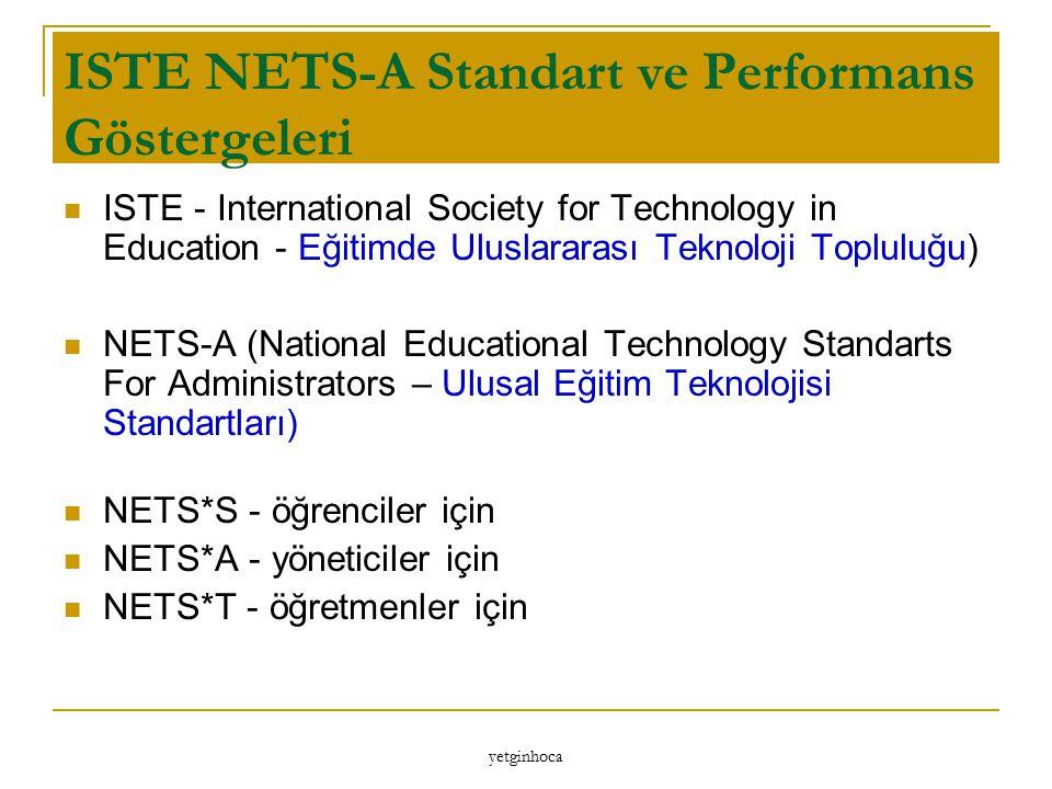 ISTE NETS-A Standart ve Performans Göstergeleri