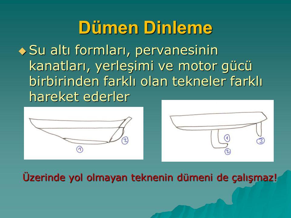 Dümen Dinleme Su altı formları, pervanesinin kanatları, yerleşimi ve motor gücü birbirinden farklı olan tekneler farklı hareket ederler.