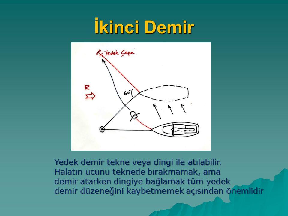 İkinci Demir Yedek demir tekne veya dingi ile atılabilir.