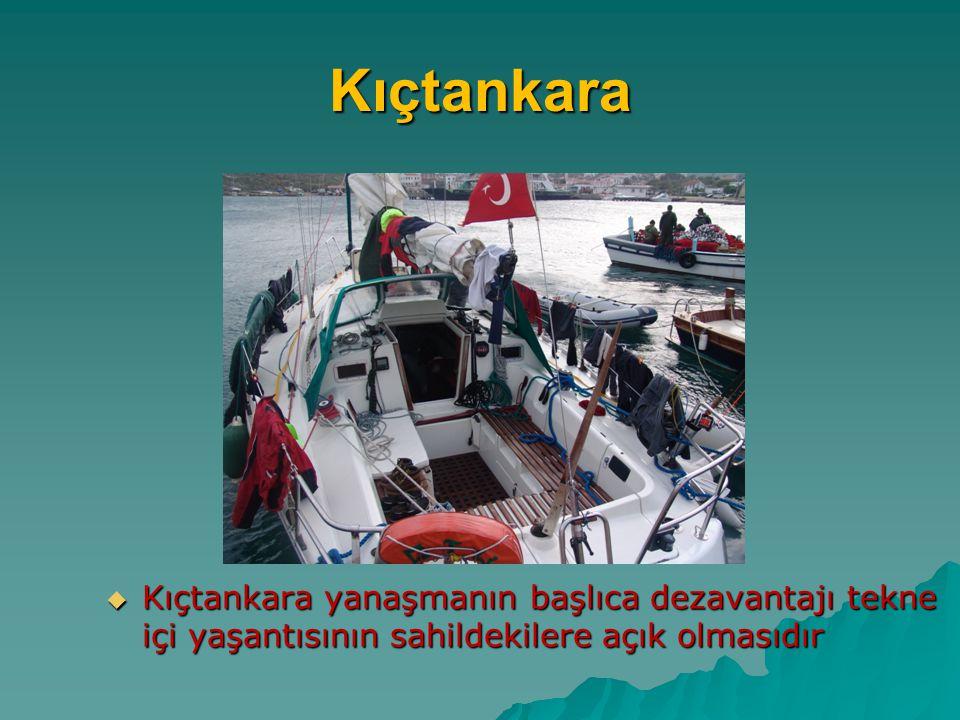 Kıçtankara Kıçtankara yanaşmanın başlıca dezavantajı tekne içi yaşantısının sahildekilere açık olmasıdır.