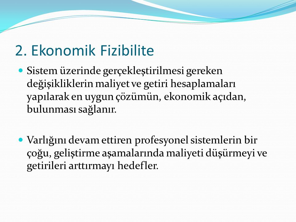 2. Ekonomik Fizibilite