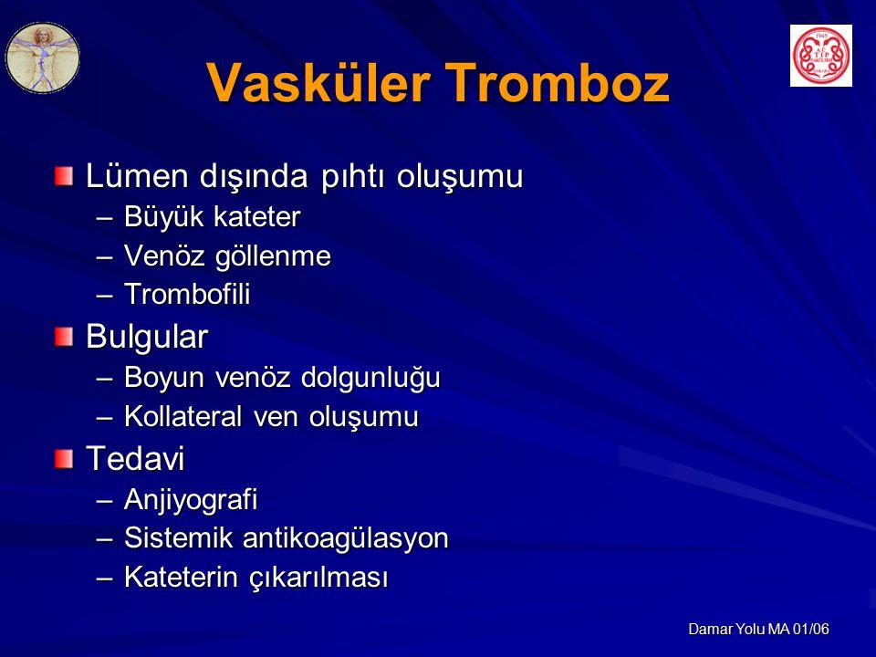 Vasküler Tromboz Lümen dışında pıhtı oluşumu Bulgular Tedavi