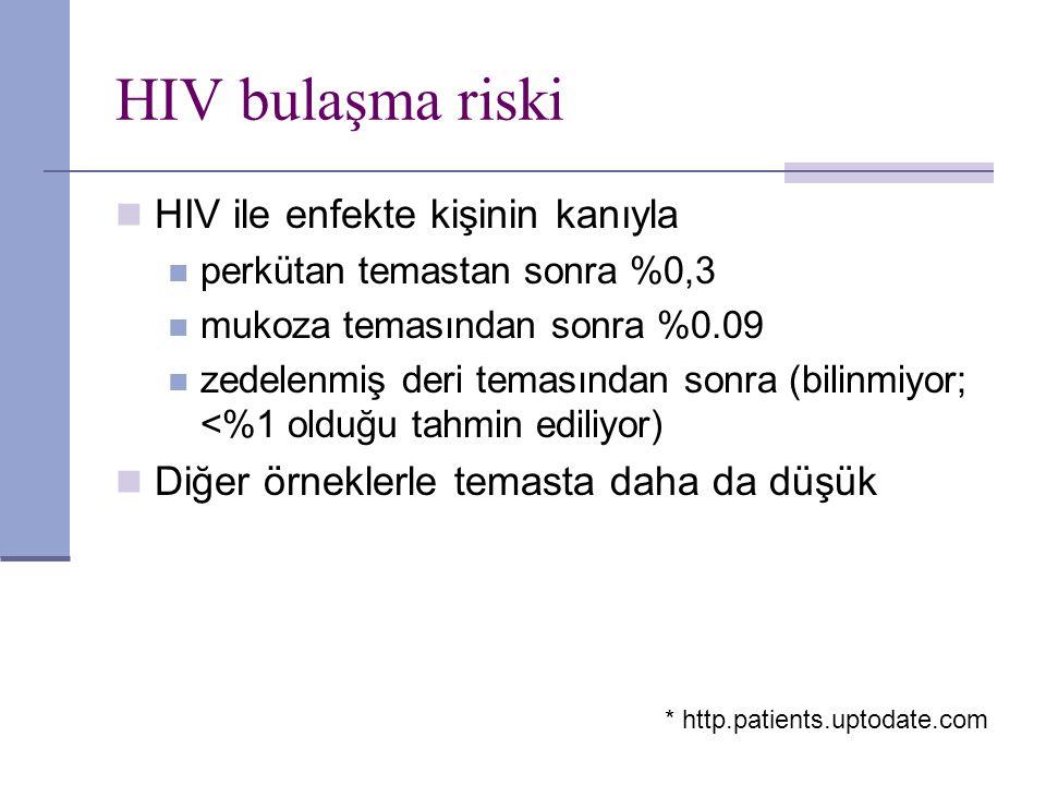 HIV bulaşma riski HIV ile enfekte kişinin kanıyla