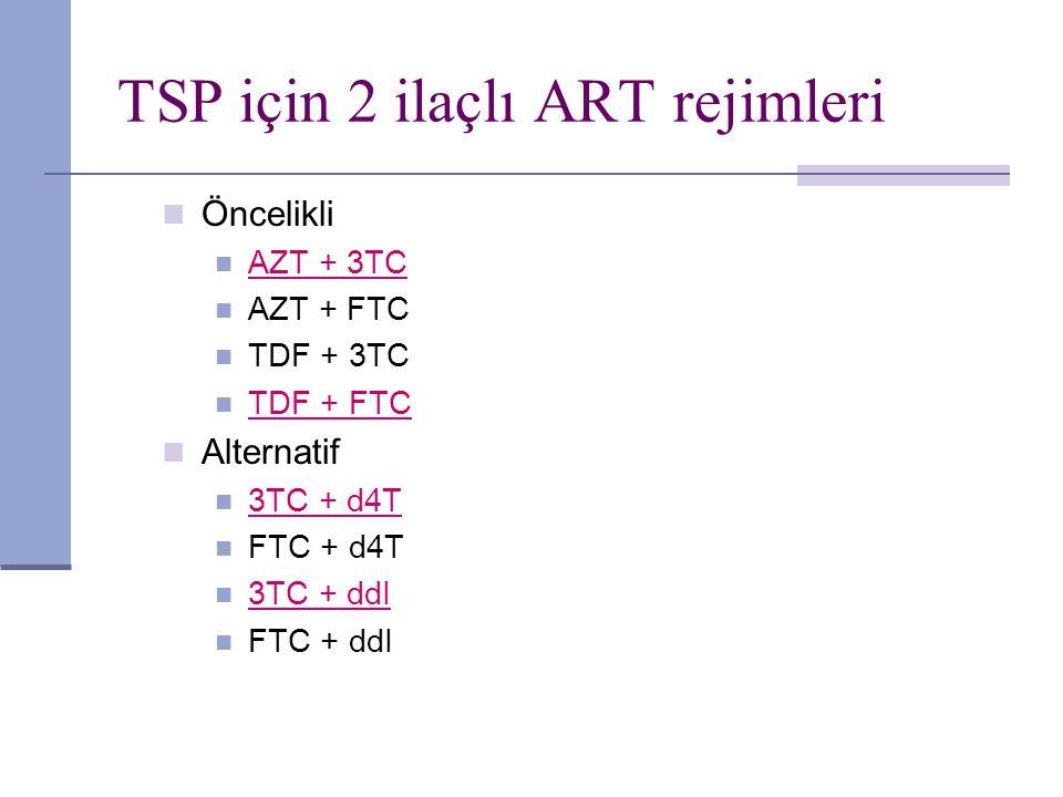 TSP için 2 ilaçlı ART rejimleri