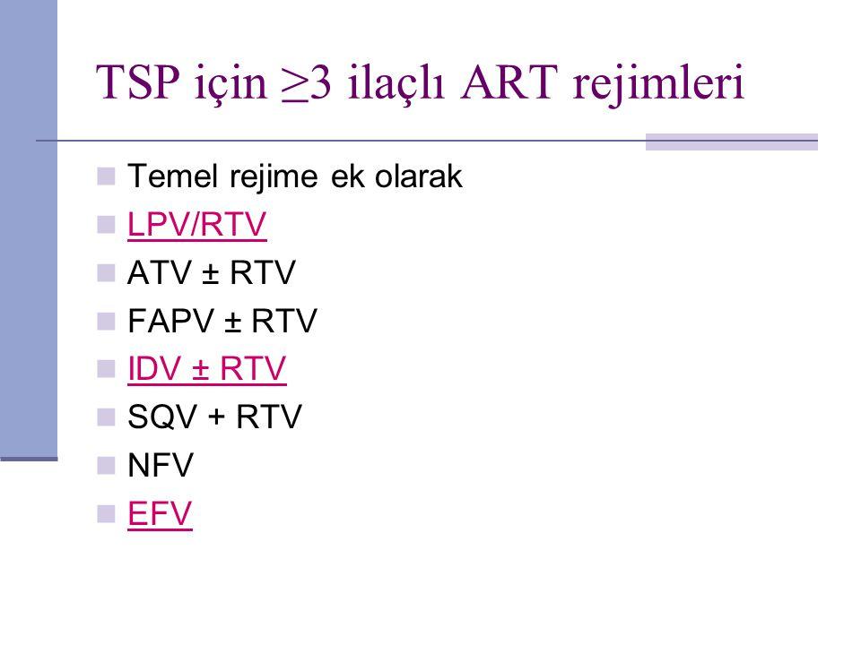 TSP için ≥3 ilaçlı ART rejimleri