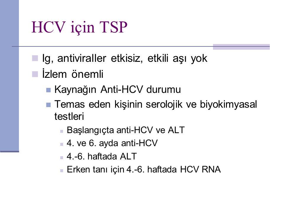 HCV için TSP Ig, antiviraller etkisiz, etkili aşı yok İzlem önemli