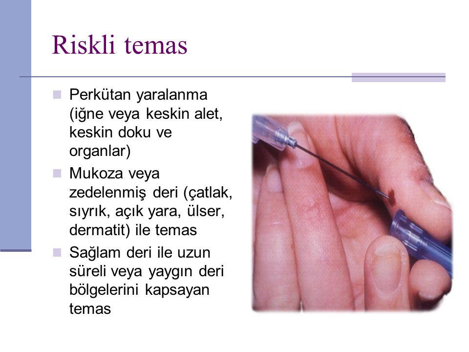 Riskli temas Perkütan yaralanma (iğne veya keskin alet, keskin doku ve organlar)