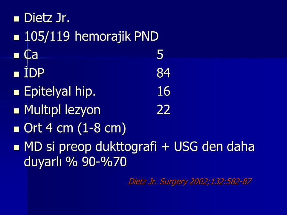 Dietz Jr. 105/119 hemorajik PND. Ca 5. İDP 84. Epitelyal hip. 16. Multıpl lezyon 22. Ort 4 cm (1-8 cm)