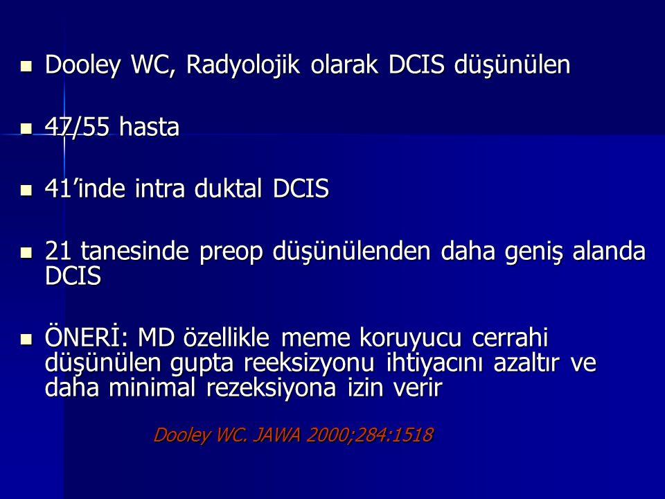 Dooley WC, Radyolojik olarak DCIS düşünülen 47/55 hasta
