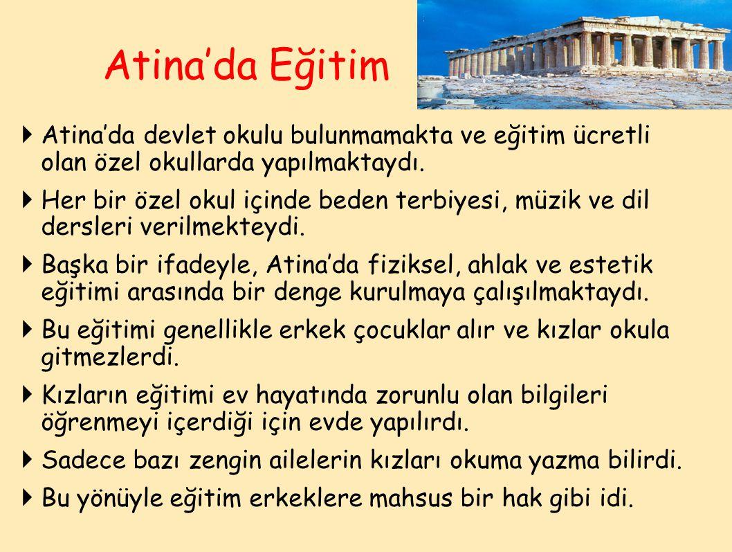 Atina'da Eğitim Atina'da devlet okulu bulunmamakta ve eğitim ücretli olan özel okullarda yapılmaktaydı.